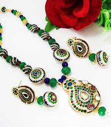 Buy Meenakari Mango Pendant Necklace Pearl White Green Necklace online