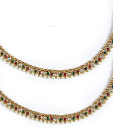 Buy Luxor Pair of Traditional Stone and Pearl Anklets-1092 anklet online