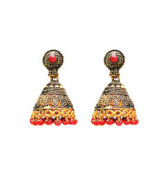Buy Temple Jhumki Earrings with Beads (Red) jhumka online