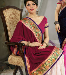 Buy Pink and White embroidered VELVET saree with blouse velvet-saree online