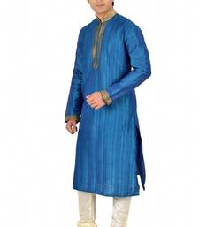 Buy BLUE SELF DESIGN MIX DOPIAN KURTA PAYJAMA kurta-pajama online