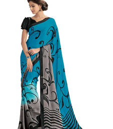 Buy Blue printed crepe saree with blouse crepe-saree online