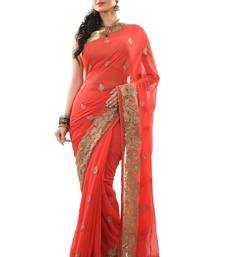 Buy Peach embroidered chiffon saree with blouse heavy-work-saree online