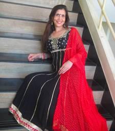 Buy Black & Red long anaarkali salwars-and-churidar online