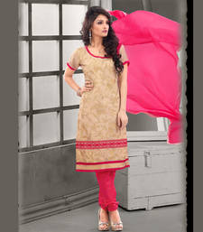 Buy Beige and Pink Coloured Embroidered Chanderi Unstitched Dress Material dress-material online