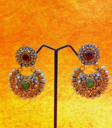 Buy Beautiful Red Green Pearl Polki Earring By Adiva ANSATOCOOO79B Earring online