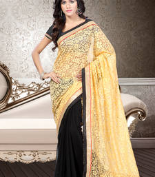 Buy Black and Beige plain polyester saree with blouse party-wear-saree online