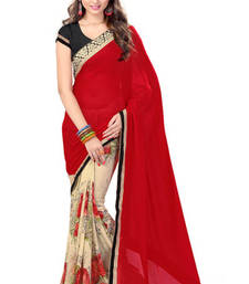 Buy Red and Beige printed jacquard saree with blouse jacquard-saree online