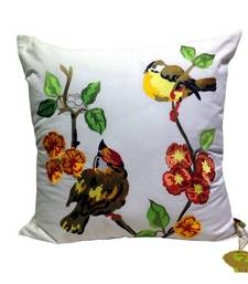 Buy Yellow Birds Embroidered Cushion Cover pillow-cover online