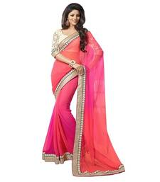 Buy PINK EMBROIDERY BORDER GEORGETTE SAREE WITH BLOUSE shimmer-saree online