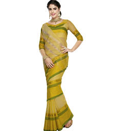 Buy Cream and Yellow Plain Cotton Saree with Blouse cotton-saree online