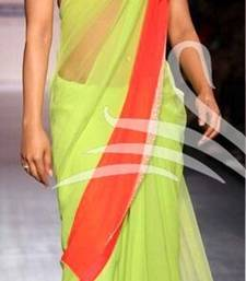 Buy Parot Green embroidered net saree with blouse priyanka-chopra-saree online