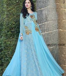 Buy Sky Blue Embroidered net semi stitched Gown party-wear-gown online