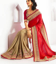 Buy Red and Cream embroidered jacquard saree with blouse party-wear-saree online