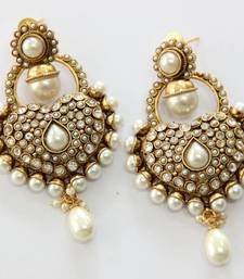Buy ANTIQUE GOLD PLATED WHITE PEARLS HANGINGS danglers-drop online