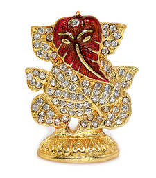Buy Religious Metal and stone studded Leaf Ganesh Idol Other online