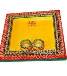 Buy Square shaped pooja thali with two bowls for roli and chawal wedding-gift online