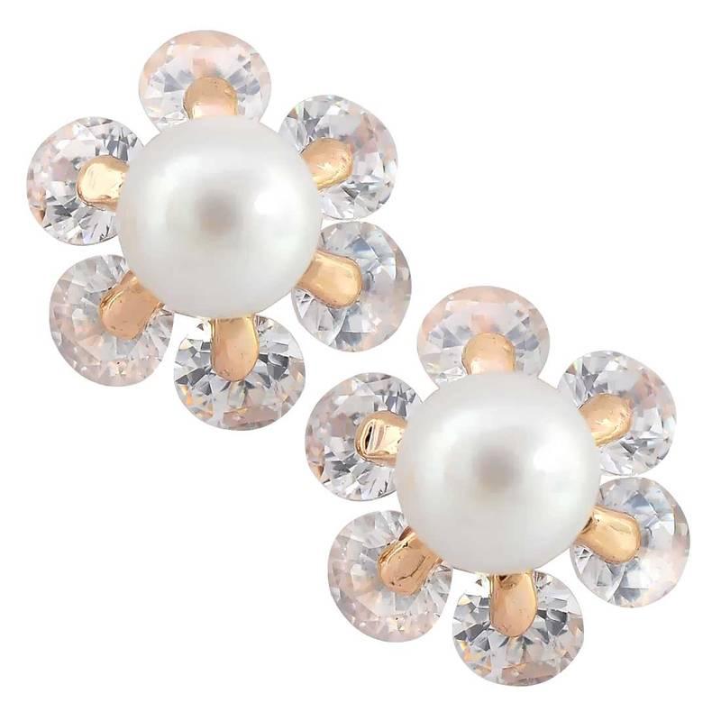 buy simple white pearl stud earrings