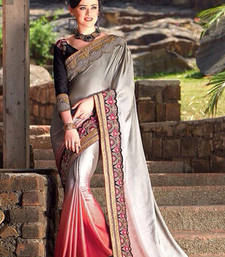 Buy Grey and Orange embroidered satin saree with blouse satin-saree online