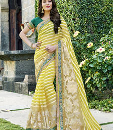 Buy Yellow and Beige and Dark Green brasso tissue saree with blouse tissue-saree online