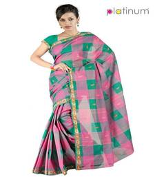 Buy Platinum Latest Ethnic Pure Cotton Checked Formal Wear Saree Sari PS057 cotton-saree online