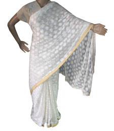 Off white embroidered chiffon saree with out blouse shop online