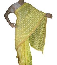 Buy Lemon embroidered chiffon saree with out blouse phulkari-saree online