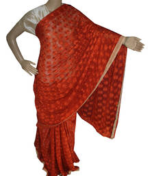 Buy Rust embroidered chiffon saree with out blouse phulkari-saree online