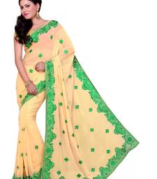 Buy Light Yellow embroidered georgette saree with blouse party-wear-saree online