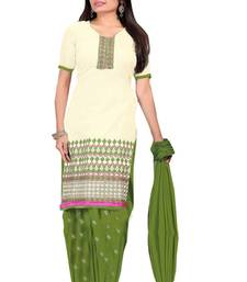 Buy Off White embroidered Chanderi semi stitched salwar with dupatta party-wear-salwar-kameez online