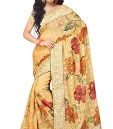 Buy Beige Stone Worked Viscose,Net Saree With Blouse viscose-saree online