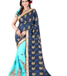 Buy Royal Blue and Light Blue brasso georgette saree with blouse brasso-saree online