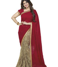 Maroon embroidery Georgette saree with blouse shop online