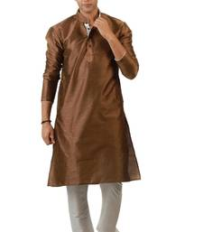 Buy Dark Brown Blended Kurta pyjama pakistani-sherwani online