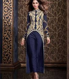 Buy Navy Blue and Beige embroidered georgette semi stitched salwar with dupatta party-wear-salwar-kameez online
