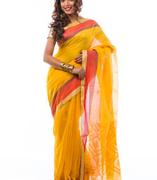 Buy Yellow hand_woven linen saree with blouse silk-saree online