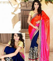 Buy ORANGE HAVY EMBROIDERY WITH STONE GEORGETTE SAREE WITH BLOUSE shimmer-saree online