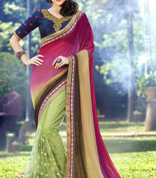 Buy Magenta  and  Brown  and  Green embroidered georgette saree with blouse half-saree online