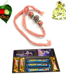 Buy Buy colorful  royal rakhi with chocolate rakhi-with-chocolate online
