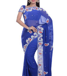 Buy BLUE embroidered viscose-sarees saree viscose-saree online