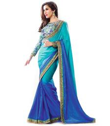 Buy Sky Blue embroidered chiffon saree with dupion blouse shimmer-saree online