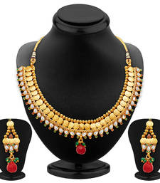 Buy Marvellous Gold Plated Temple Jewellery Necklace Set necklace-set online