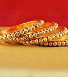 Buy Rajasthani gokharoo,kara churi meenakari,moti,cz,stone,bangles size-2.6,2.8 bangles-and-bracelet online