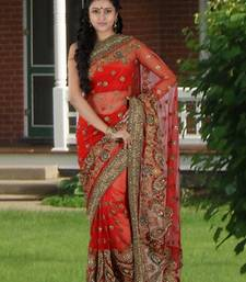 Buy Red embroidered net saree with blouse karwa-chauth-saree online