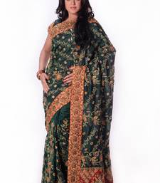 Buy Dark Green embroidered art_silk saree with blouse wedding-saree online