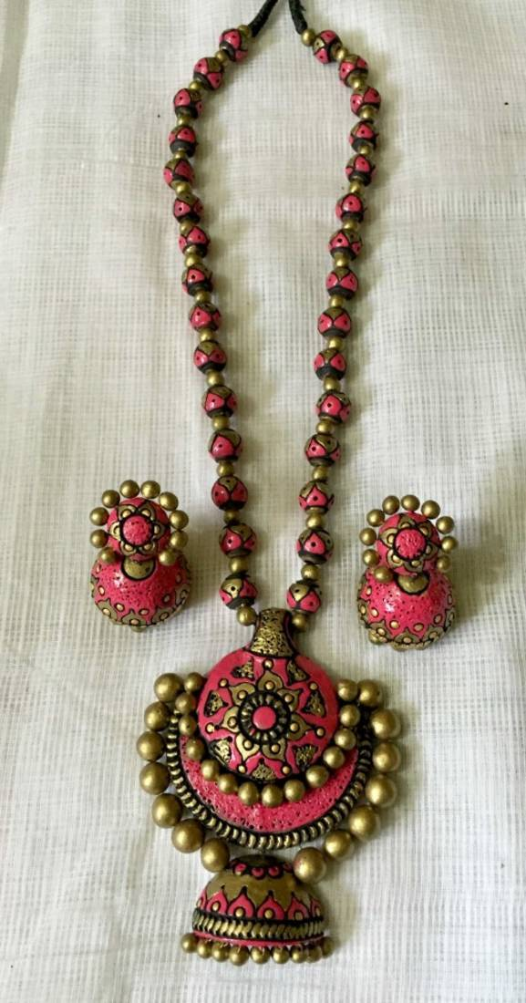 Buy pink and green and antique gold and terracotta jewellery online