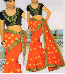 Buy Red embroidered cotton saree with blouse cotton-saree online