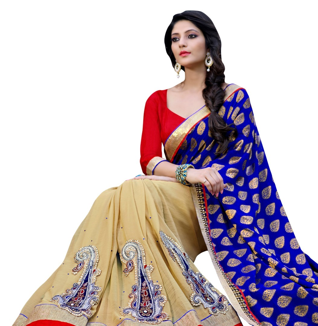 Buy Chikoo Embroidered Georgette Saree With Blouse With Blouse Online