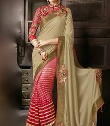 Buy CHIKU and  RED embroidered georgette saree with blouse wedding-saree online