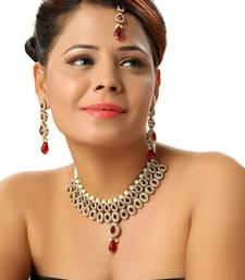Buy Dazzling Pearl Kundan Necklace set in Maroon necklace-set online